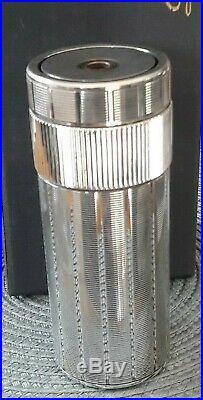 Rare Briquet ST. Dupont Cylindre Plaqué Argent Art Déco Avec Coffret Et Papiers