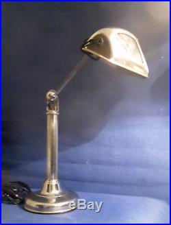 Rare Lampe Pirouett Reflecteur Moderniste A Verres Decorés De Nuages Art Deco