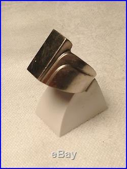 Rare! Magnifique Bague Pour Homme Art Deco Argent