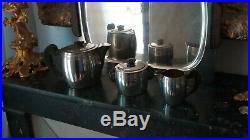 Rare Service à thé/café Art Déco Ercuis Métal Argenté Ebene de Macassar 1930