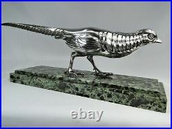 Rare Statue Bronze Argente Art Deco Faisan Par Marcel Bouraine Sculpture Orig
