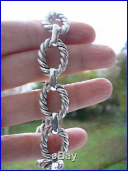 Rare! Superbe bracelet ancien art déco gros maillons en argent 44gr
