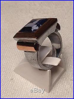 Rare! Tres Belle Bague Art Deco Argent Or Et Quartz Bleu
