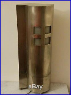 Rare ancien lampe architecte styliste style Le Corbusier bronze argentée bahaus