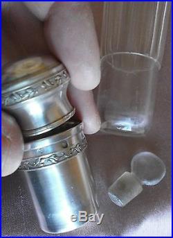 Rare fiole / flacon à alcool de voyage à timbale Cristal taillé & argent massif