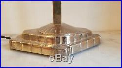 Rare lampe ART Déco potence en bronze argentée verres Schneider 1925 no muller