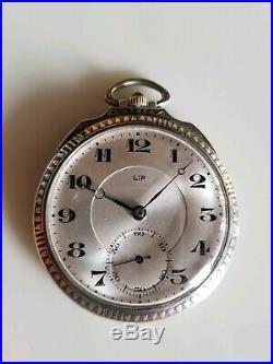 Rare montre à gousset art déco en argent de marque Lip