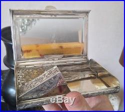 Rare sac de soirée Art déco en Argent Massif (poinçon 800) poudrier rouge miroir