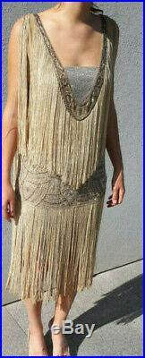 Rare superbe authentique robe à franges 1920 années 20 Art Déco flappers dress