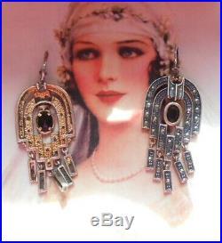 Rares boucles dormeuses anciennes Art Deco 1930 or argent jais marcassites