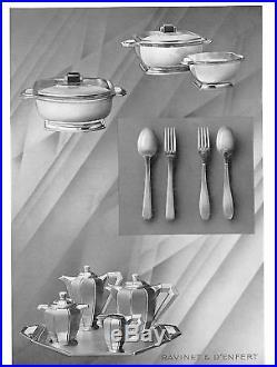 Ravinet Denfert Rare Service à thé/café Art Déco en Métal Argenté circa 1925