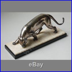 Rochard Panthère S'abreuvant, Sujet Animalier Art Déco Régule Argenté 1930 Ro