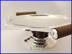 Roux Marquiand Coupe Art Deco 3 Boules Metal Argente Et Palissandre Annees 1930