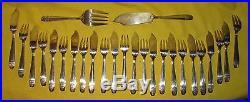 SERVICE A POISSON 24 pièces + couvert de service ART DECO metal argenté orfèvre
