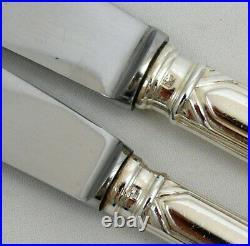 SFAM Art Déco 24 couteaux 12 de table + 12 dessert métal argenté excellent état
