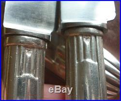SFAM Coffret 12 couteaux de table art déco manche métal argenté & lames inox