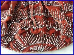 Sac aumônière monture argent poinçon Minerve velours perles Art Déco 12695