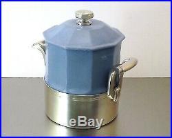 Saglier Boite Pot Couvert Art Deco Faience Bleu Pale Et Metal Argente Vers 1935