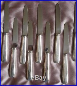 Saint Médard 12 Couteaux à fromage en métal argenté style art déco