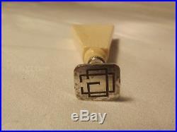 Sceau cachet ancien argent et os de bovin art déco 1925 TTBE monogramme CG ou GC
