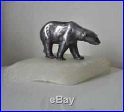 Sculpture presse papier OURS polaire RÉGULE & AGATE STYLE POMPON ART DÉCO 1930
