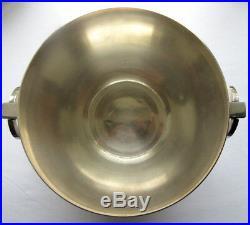 Seau à champagne Art Déco, beau métal argenté, 2 anses anneaux, signé ST Médard