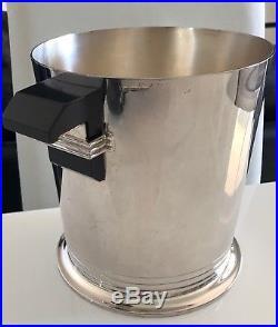 Seau à champagne Art Deco en métal argenté Puiforcat