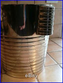 Seau à champagne Luc Lanel pour Christofle art déco modèle ondulé argent plaqué