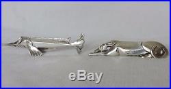Serie 12 Porte Couteau Art Deco En Metal Argente Gallia Sandoz Christofle