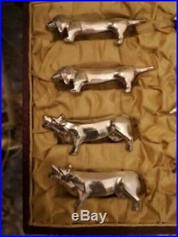 Série de 12 porte couteaux métal argenté animaliers sandoz 1925 1930 art déco