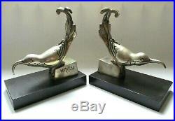 Serre livres statue Art Déco bronze argenté oiseaux MOLINS BALLESTE (1893-1958)