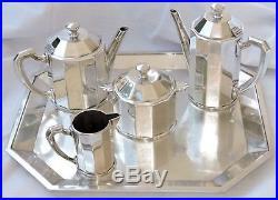 Service A The Cafe En Metal Argente Christofle Moderniste Complet 5 Pieces