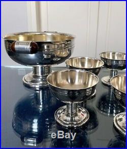 Service à Dessert Glace Art Déco métal argenté Coupe Coupelles Bakélite