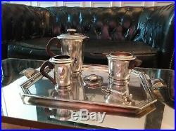 Service à Thé Café Art Déco en Métal Argenté Ravinet Denfert pour Hermès 1930