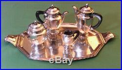 Service à Thé et à Café Art-déco en métal argenté vers 1930 5 pièces