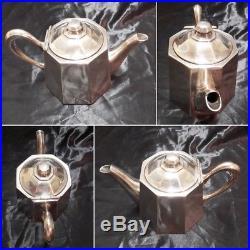 Service à café et à thé Art Déco Ercuis métal argenté signé numéroté 4 pièces