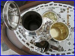 Service a café thé métal argenté anses bois art déco POINCON GALLIA CHRISTOFLE