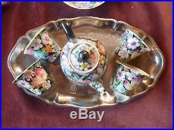 Service à thé argent et porcelaine, indochine