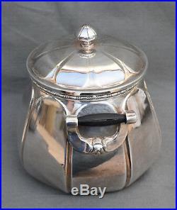 Service à thé café Art Déco en métal argenté Christofle Gallia Théière Sucrier
