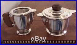 Service à thé, café, sucrier, pot à lait, 4 pièces en métal argenté Art déco