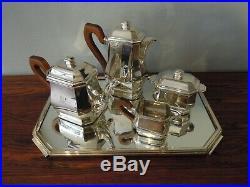 Service à thé et café Art Déco en argent massif Minerve Tétard Frères monogramme