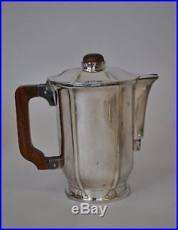 Service à thé et café en métal argenté, Ercuis, Art deco