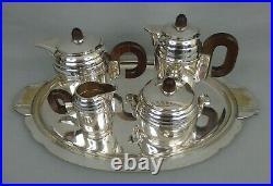 Service à thé et café en métal argenté art déco 1930