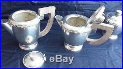Service café Thé en métal argenté avec plateau Années 1930 Art déco Ménagère