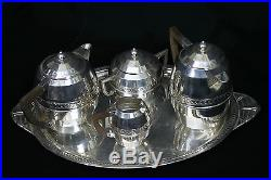 Service en métal argenté Art Déco/ Art Deco service tea, coffe, sugar, milk pot