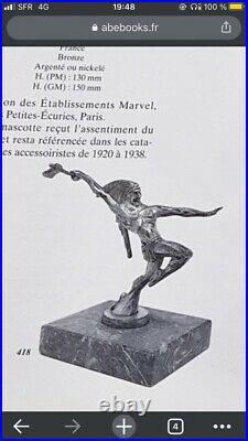 Statue Art Déco Mascotte Automobile Métal Argenté un sioux