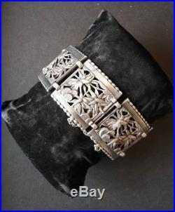 Sublime bracelet ancien argent massif décor japonisant époque art déco