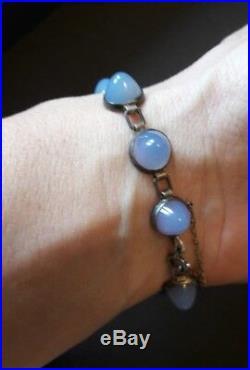 Sublime bracelet ancien en argent et cabochons de pierres opalescentes, art déco