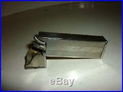 Superbe 30's Art Deco Patented Longfellow 45 Degré roulette Briquet métal argent