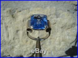 Superbe Bague Ancienne A Rouleaux/ Art Deco/pierre Bleue/or Rose Et Argent/t. 51